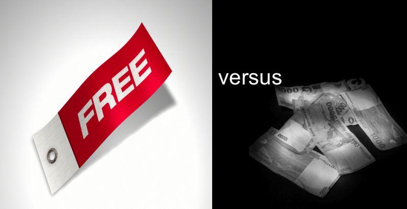 Free vs paid black and white