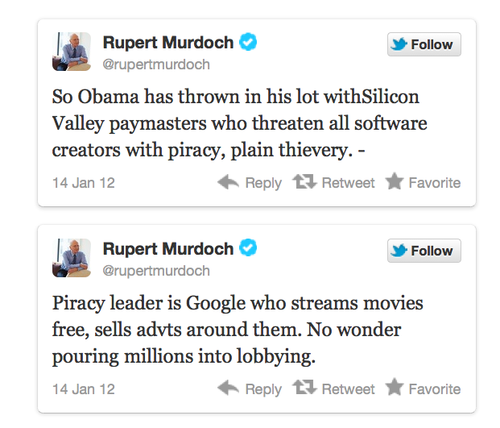 Murdoch mad tweets on google
