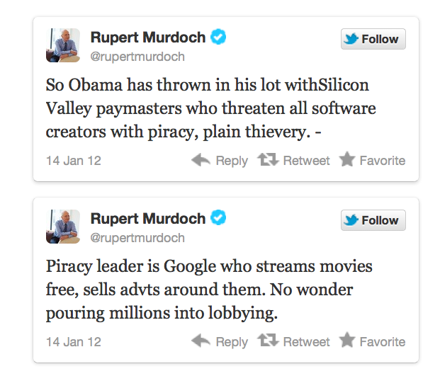 Murdoch mad tweets on google