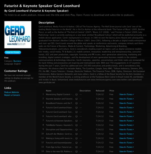 Gerd Leonhard Futurist US iTunes podcast page